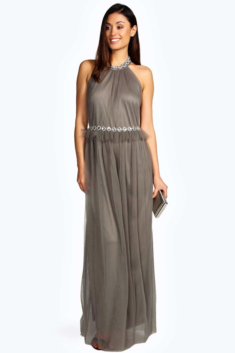 Sienna Chiffon Pleat Halter Jewel Trim Maxi - Boohoo.com