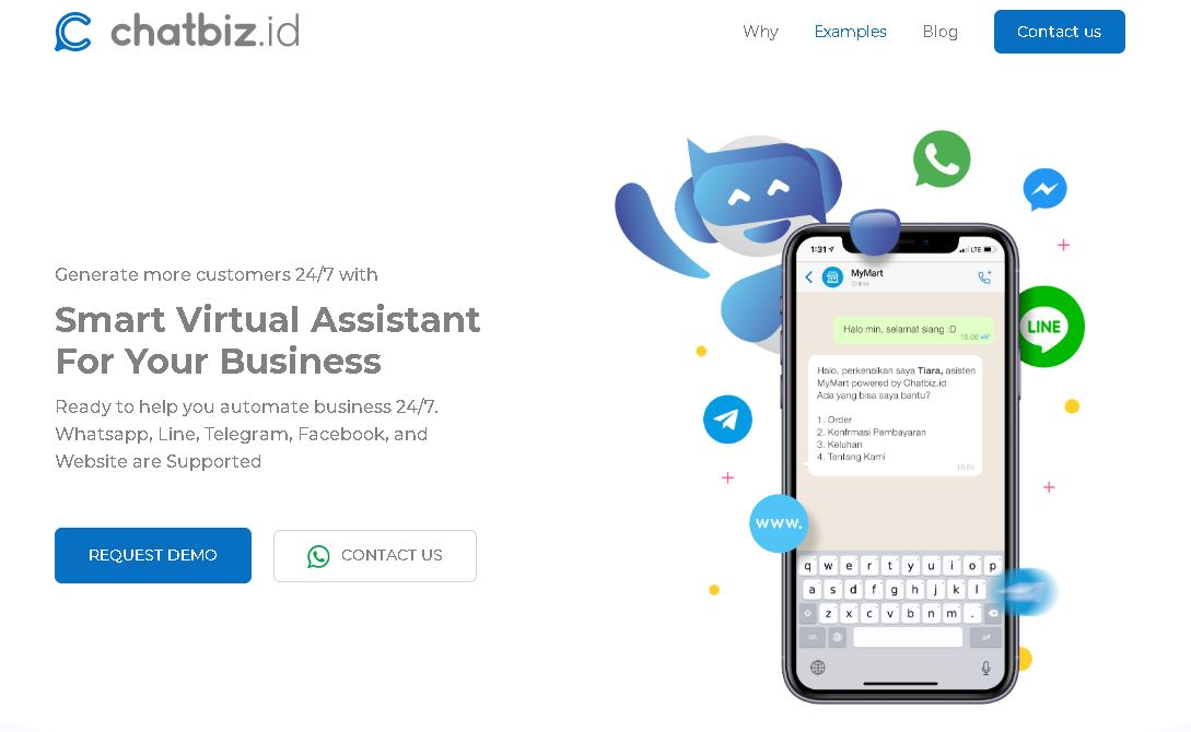 hompage website Chatbiz, startup otomasi chat