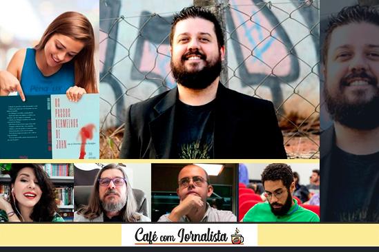 O escritor Luigi Ricciardi e os críticos Thays Pretti, Whisner Fraga, José Cláudio e Victor Simião