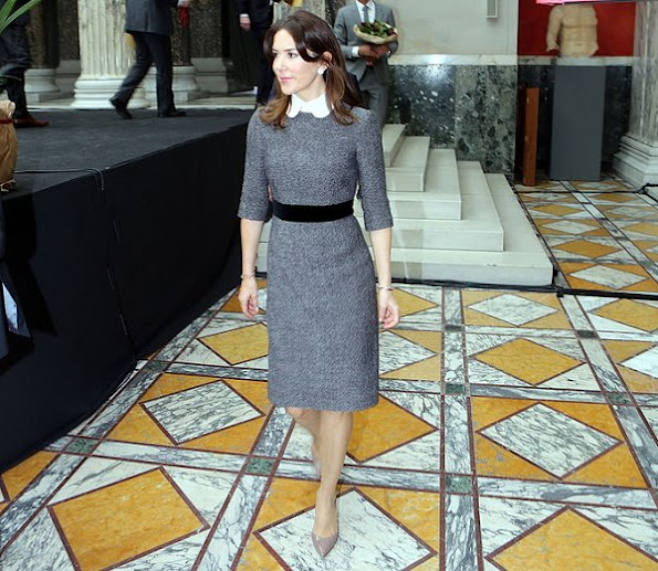 Crown Princess Mary wore Prada dress, Gianvito Rossi Patent Leather Pumps and carried Naledi Copenhagen Allana Latte Ostrich Clutch