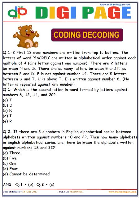 DP | CODING DECODING | 19 - JUNE - 17 |