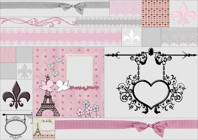 Fondos, Flores de Lis y Bordes del Bello Clipart Chic París.
