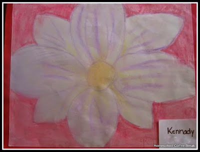 An O'Keeffe Flower on the Virtual Fridge, an art link-up hosted by Homeschool Coffee Break @ kympossibleblog.blogspot.com #VirtualFridge #art