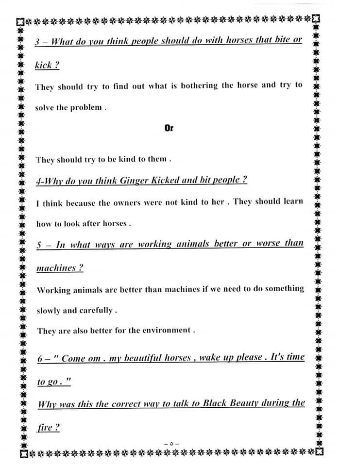 حل اسئلة التفكير النقدي لقصة Black Beauty للصف الثالث الاعدادي 5