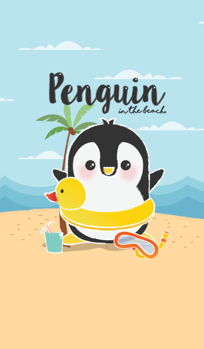 penguin in the beach. (Yellow ver.)