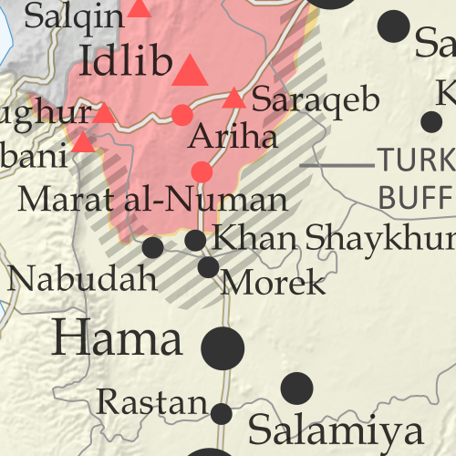 Map of Syrian Civil War (Syria control map): Territorial control in Syria in January 2020 (Free Syrian Army rebels, Kurdish YPG, Syrian Democratic Forces (SDF), Hayat Tahrir al-Sham (HTS / Al-Nusra Front), Islamic State (ISIS/ISIL), and others). Includes Turkish/TFSA control, joint SDF-Assad control, US deconfliction zone, and Turkey-Russia demilitarized buffer zone, plus recent locations of conflict and territorial control changes, including Marat al-Numan, Al-Hayl Gas Field, Abu Kamal, and more. Colorblind accessible.