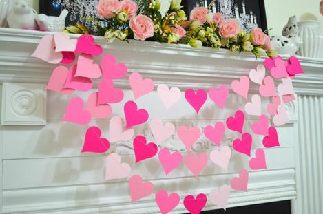 varal de corações de papel