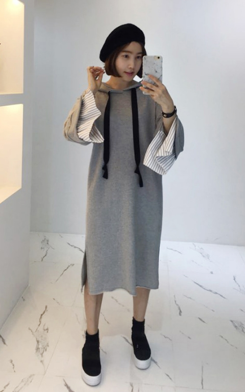 Hooded Dress With Contrast Cuffs