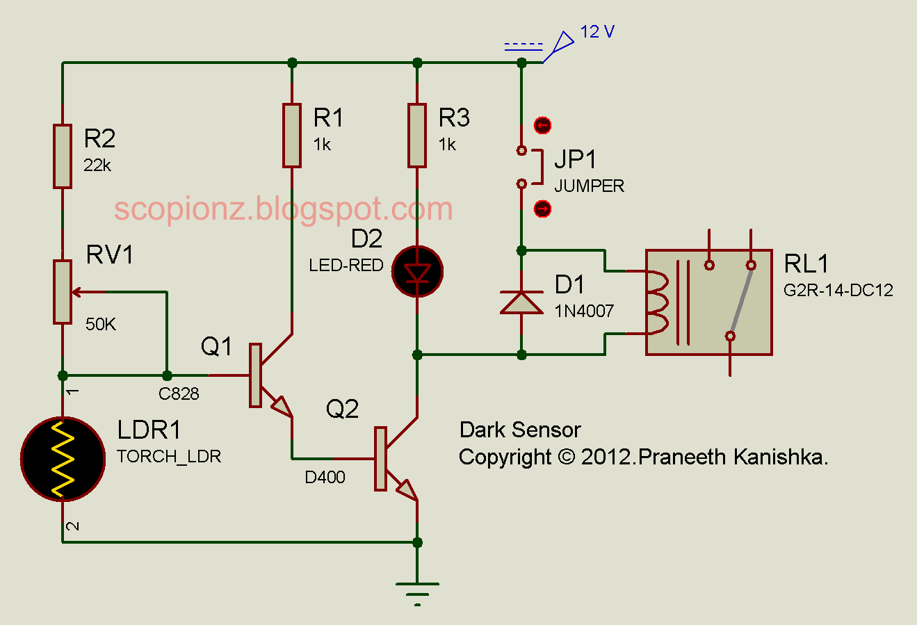 D400 Ldr Circuit Not Lossing Wiring Diagram Using Simple Dark Sensor Scorpionz Electronic Circuits And Rh Scopionz Blogspot Com 555