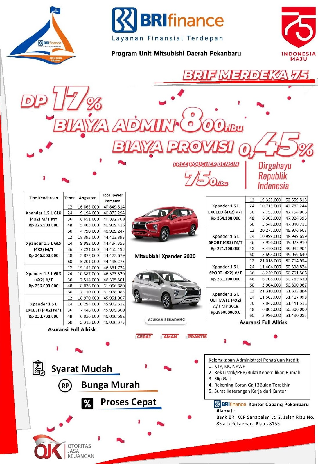 Paket Kredit Mitsubishi Xpander, Xpander Cross, Pajero Sport dan All New Triton di  BRI Finance Pekanbaru Agustus 2020