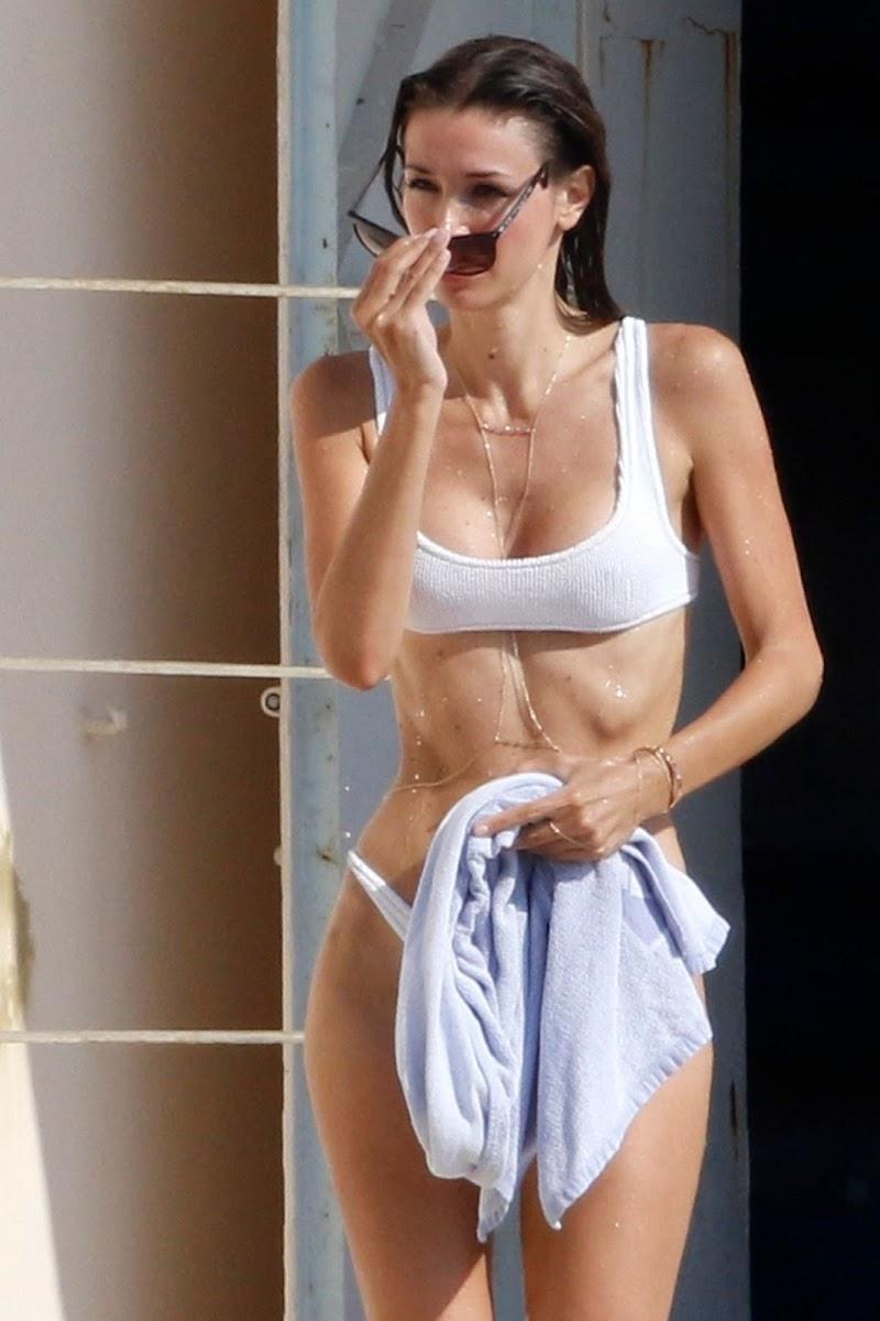 Lara Lieto Clicked in a White Bikini at a Beach in France 1 Aug -2020
