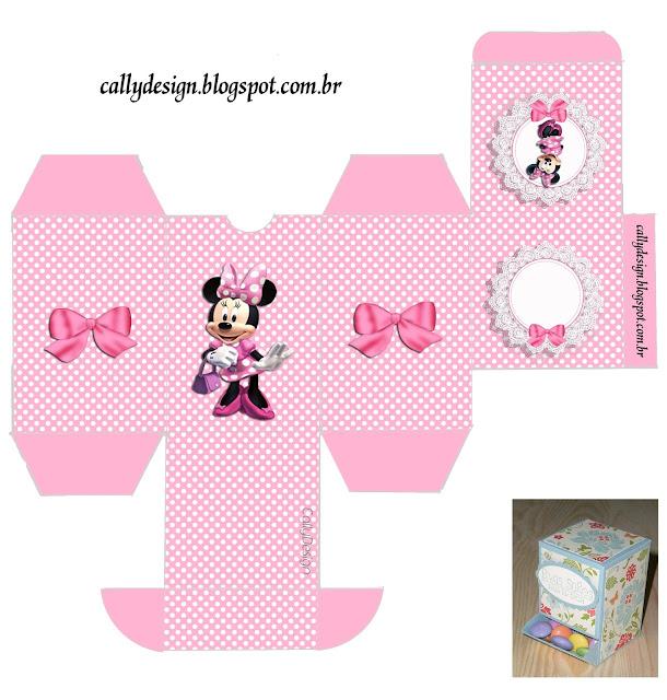 Cajas  para imprimir gratis de Minnie con Rayas Rosa.