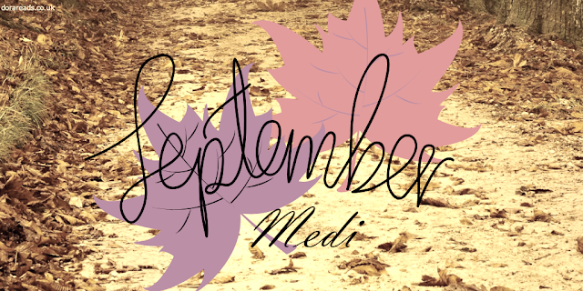 September - Medi. Leafy background and two large leaves directly behind the words