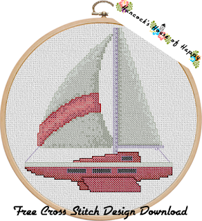 super cute detailed cross stitch sailboat pattern