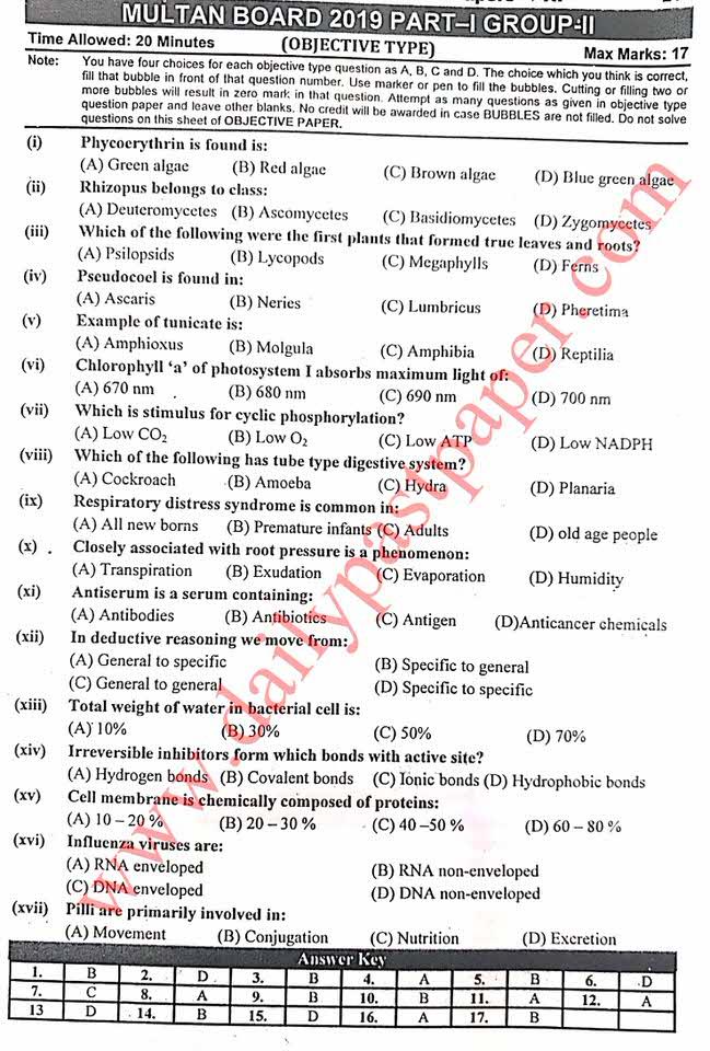 Past Paper Biology 1st Year 2019 Objective Multan Board Group II