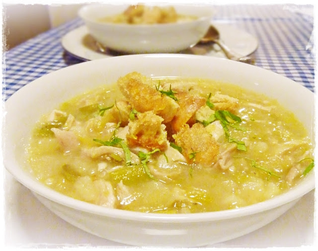 chicken and leek soup with croutons