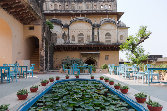 Neemrana Fort Palace Lotus Pond in Rajasthan India