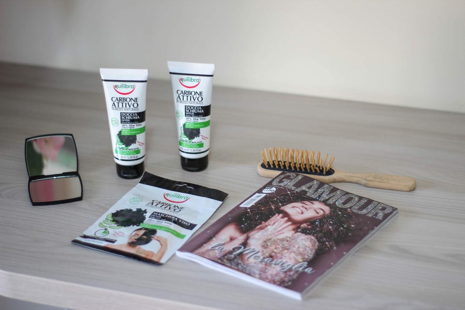 recensione Equilibra - Docciaschiuma Detox Carbone Attivo - Maschera Viso Detox