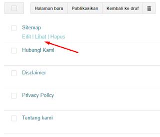 Klik Lihat untuk Mengecek Sitemap SEO di Blogger