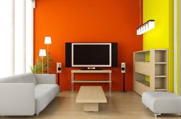 orange two colour combination for room walls