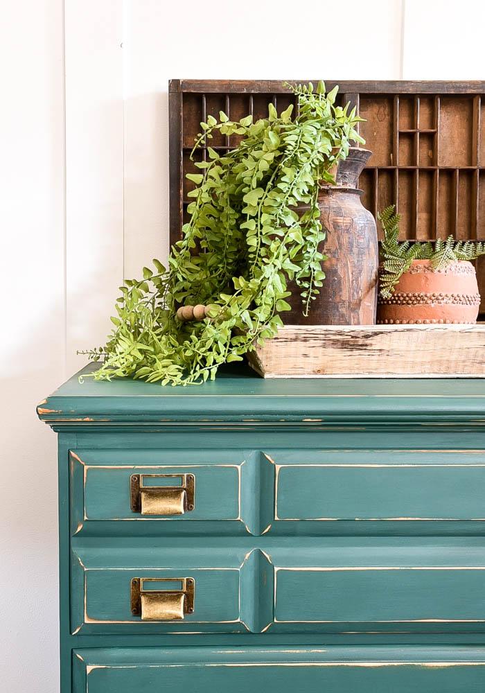 Pressed Fern dresser with bronze label pulls