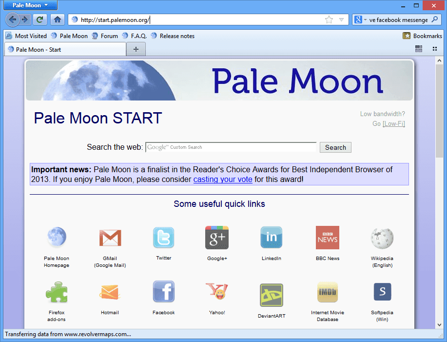 Pale Moon Browser 2017