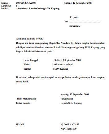 Contoh Surat Undangan Pertemuan Sosialisasi Renovasi Gedung Sekolah