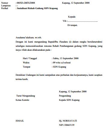 Contoh Surat Undangan Pertemuan Sosialisasi Renovasi Gedung Sekolah Madrasah