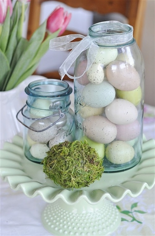 easy pastel Easter decoration with pastel eggs