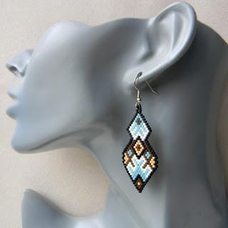 Купить серьги из бисера подарок девушке этника орнамент