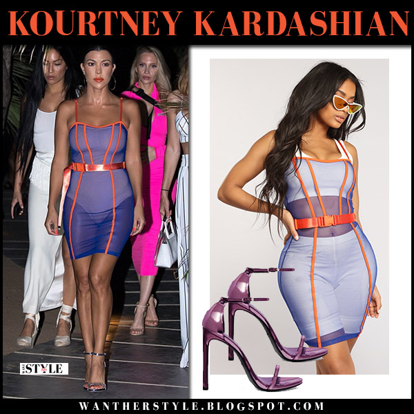 Kourtney Kardashian in sheer purple mini dress with orange piping summer night out style august 26