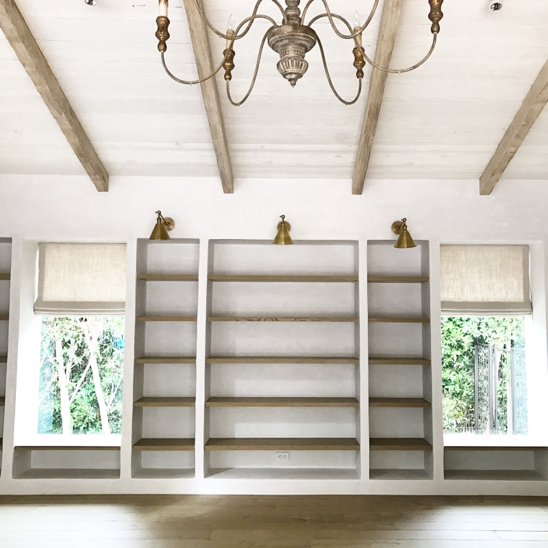 image result for white oak built-in shelves and windows Malibu Mediterranean Modern Farmhouse Giannetti Home