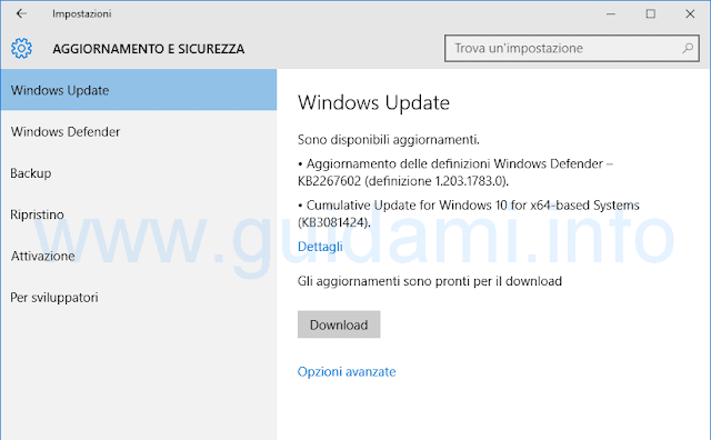 Aggiornamenti Windows 10 disponibili al download