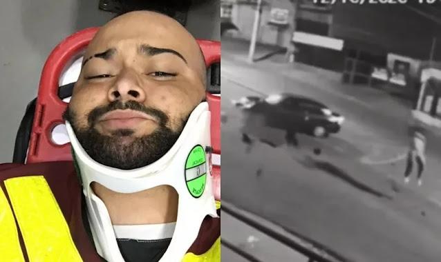 """Motoboy é arremessado a uma distância de 18 metros e sai ileso: """"Livramento de Deus"""""""