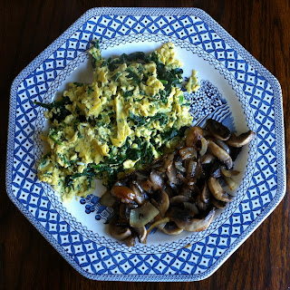 Wheat Free Breakfast scarmbled eggs with spinach and mushrooms