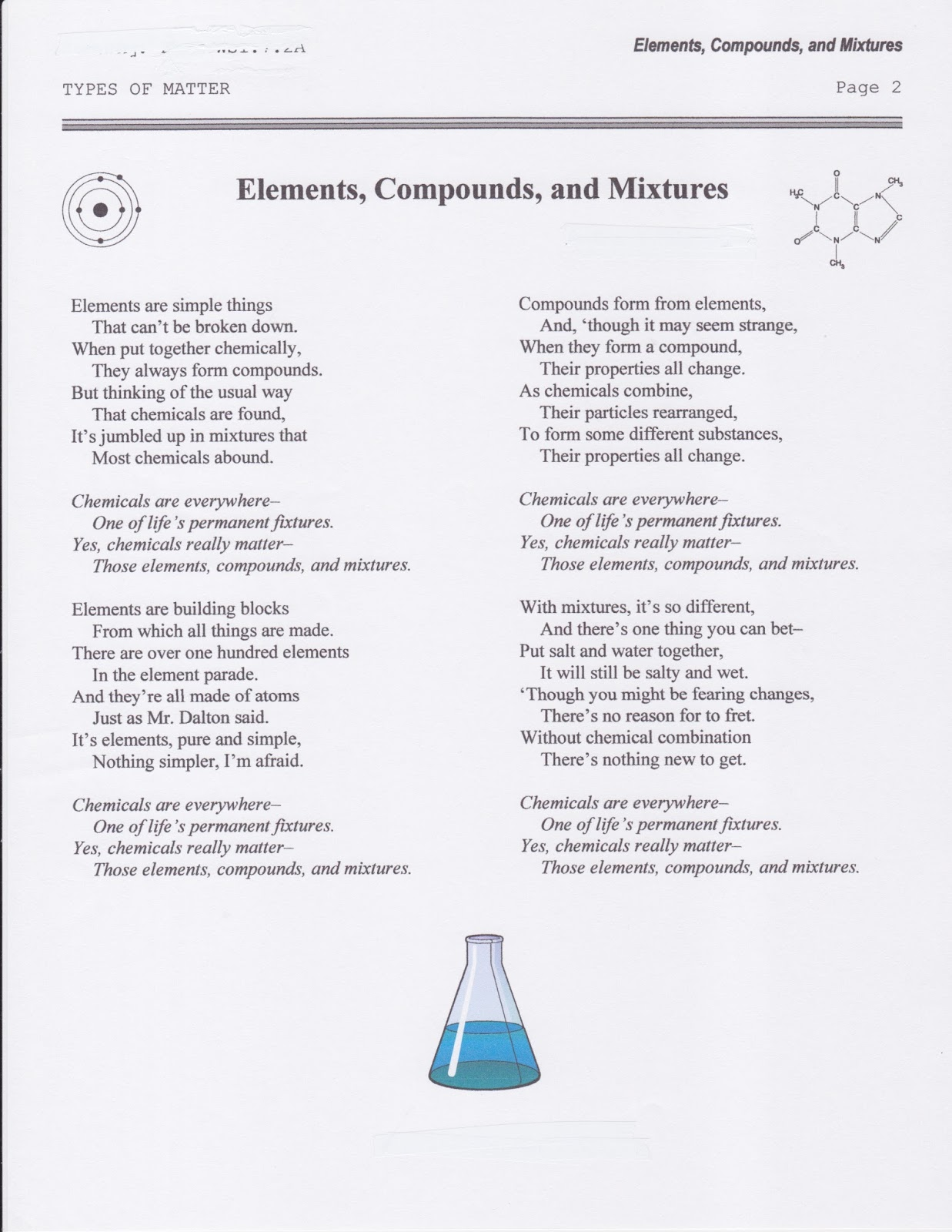 Elements Compounds And Mixtures Worksheet Answers Poem