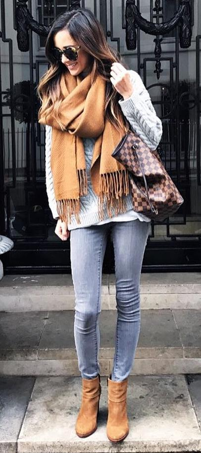 how to style a plaid bag : knit sweater + scarf + skinny jeans + over the knee boots