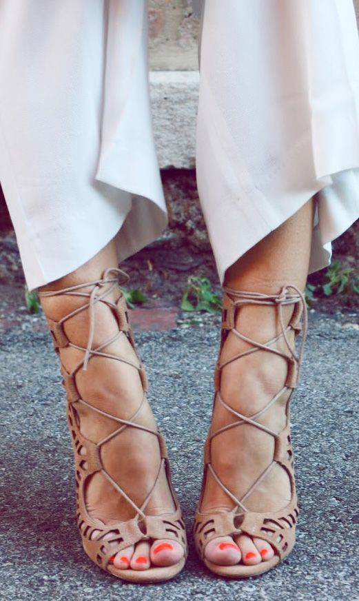 Nude Lace-Up Heels ♥ L.O.V.E.