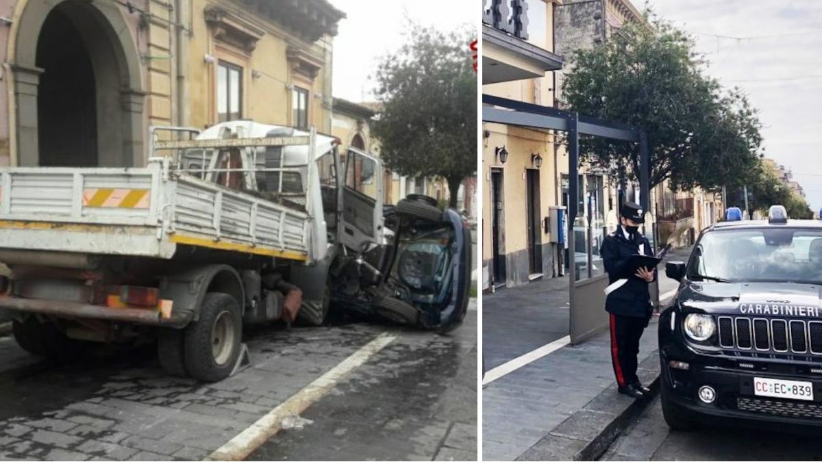 Belpasso Carabinieri incidente camion