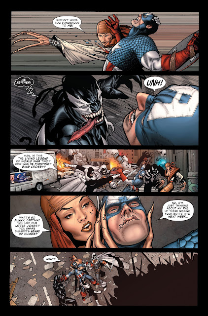 Thunderbolts (Venom and Lady Deathstrike) beating Captain America