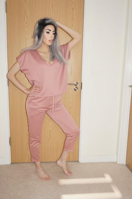 The Femme Luxe Rose V-Neck Boxy Loungewear Set in model Estelle