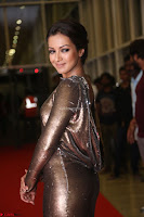 Actress Catherine Tresa in Golden Skin Tight Backless Gown at Gautam Nanda music launchi ~ Exclusive Celebrities Galleries 034.JPG