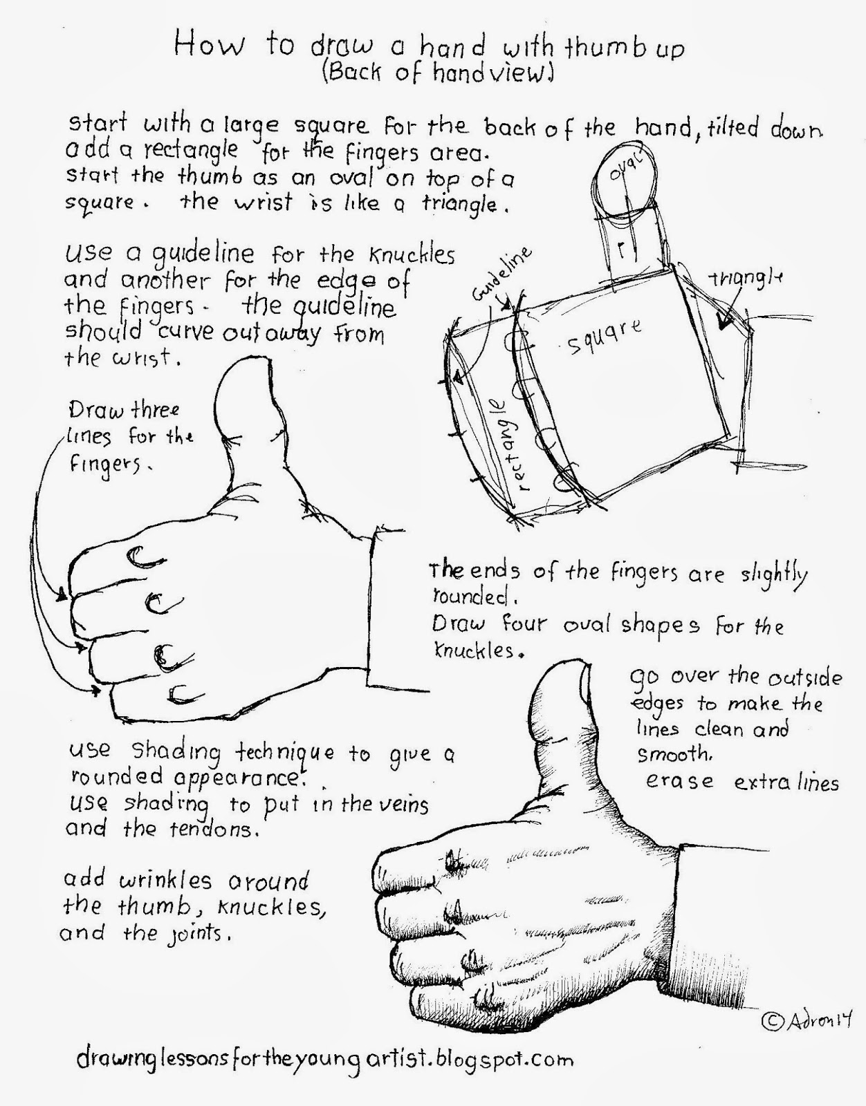 Worksheets How To Draw Worksheets how to draw worksheets for the young artist a hand thumbs up back view