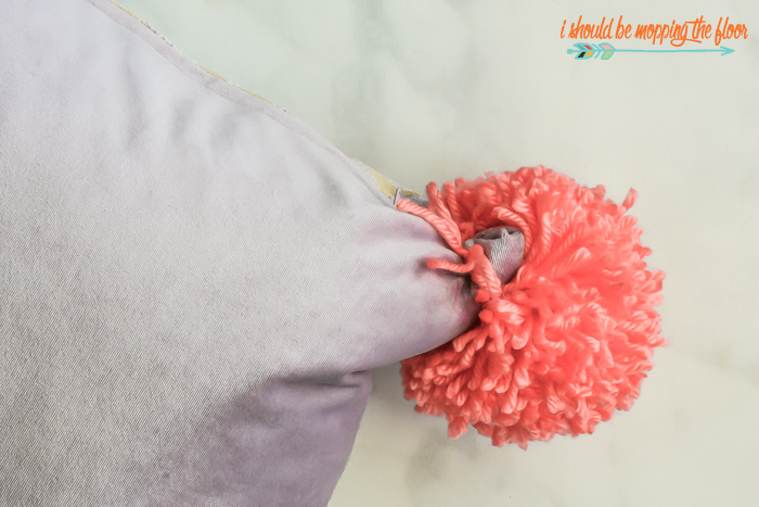 Attaching Pom Poms to a Pillow