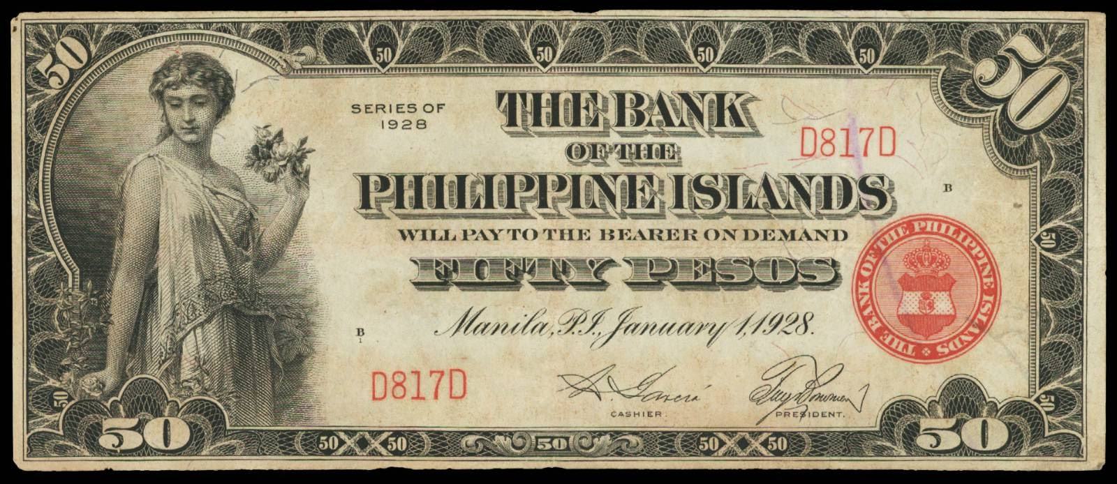 Currency of the Philippines 1928 50 Pesos Note