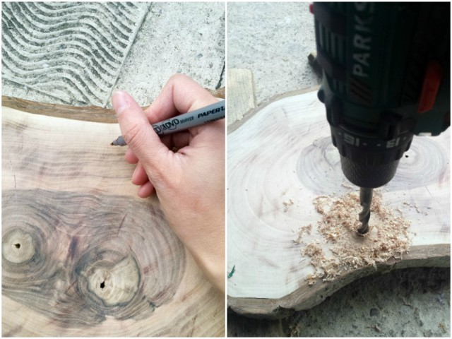 Bušenje rupa na komadu drveta.