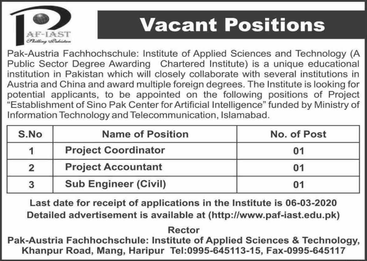Jobs in Pak-Austria Fachhochschule Latest 2020
