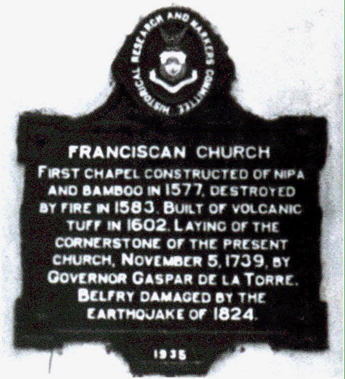 Historical marker The Santuario de San Antonio de Padua in Intramuros, Manila