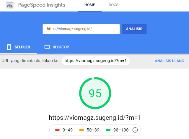 Vio Magz - Hasil tes Google PageSpeed Mobile