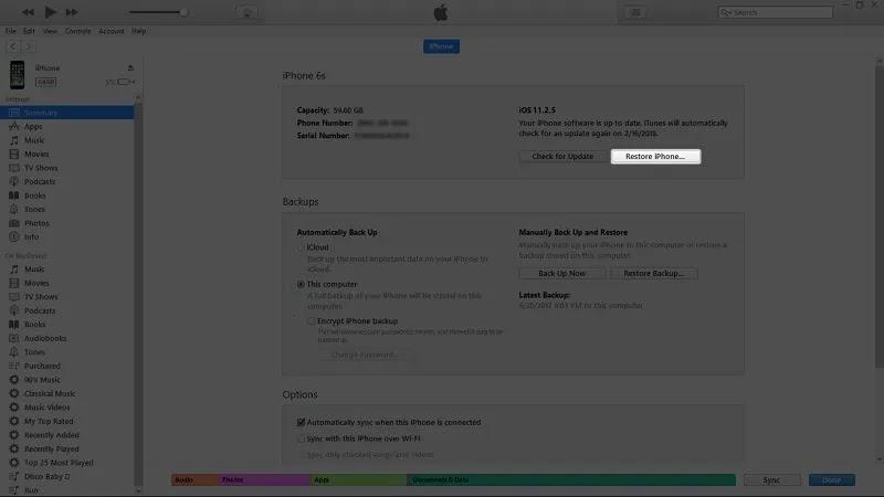 يمكنك إعادة تشغيل جهاز iPhone الخاص بك باستخدام تطبيق iTunes.